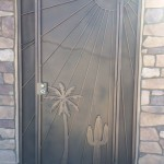 palm tree and cactus screen door image