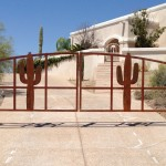 double driveway gate with cactus image