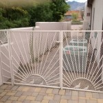 side gate and enclosure with sun and quail design image