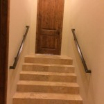 matching metal handrails on stairs image