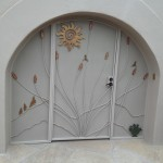 arched enclosure door with white and gold screen image
