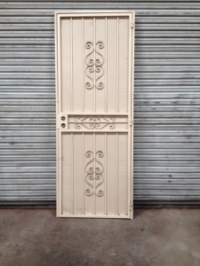 "outside frame measures 36 3/8 "" x 96"" Extra tall, split scroll design, beige Door is sold 'AS IS' for $300.00."